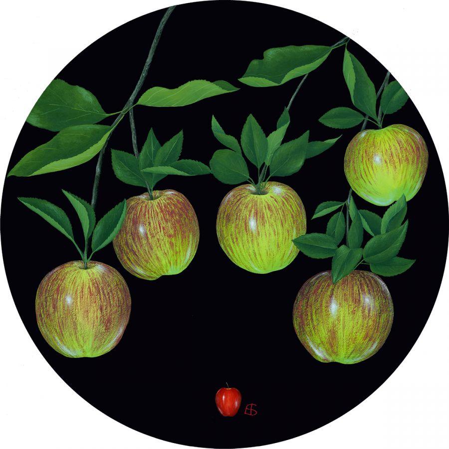 5 Apples' on Black Trivet