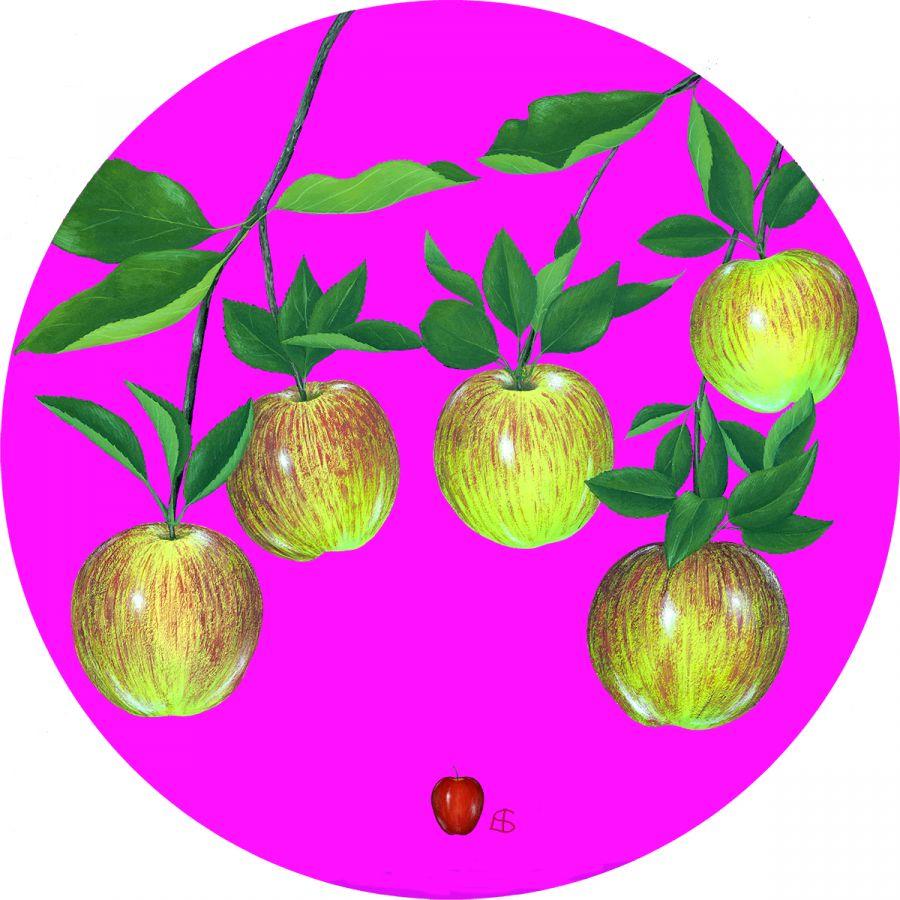 5 Apples' on Pink Trivet