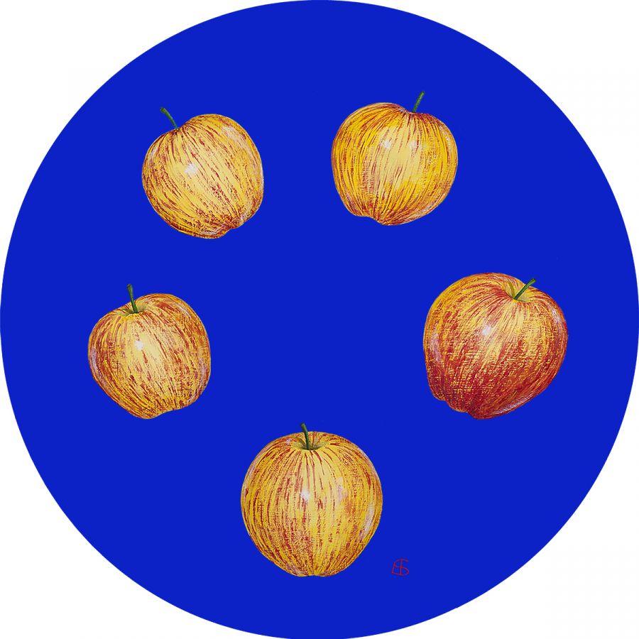 Five Gala Apples on Blue Glass Trivet