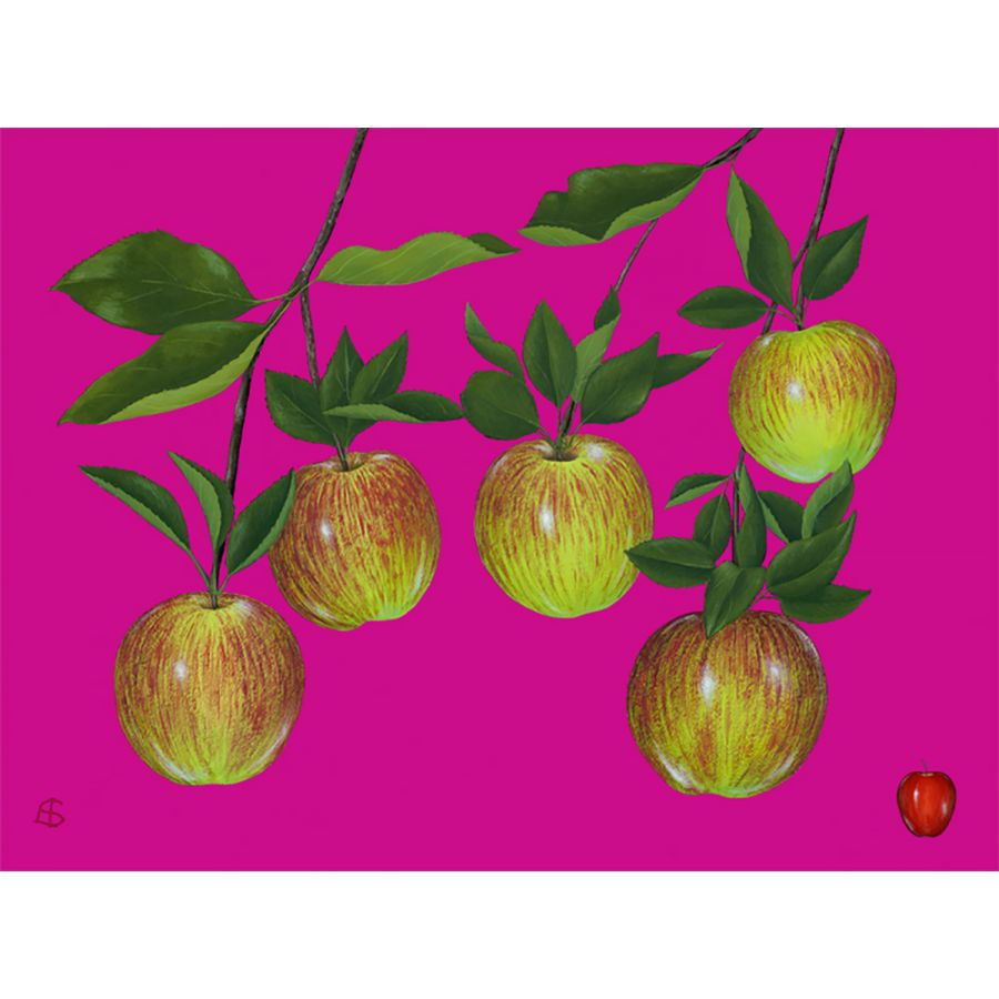 Five Apples on Pink Table Mats