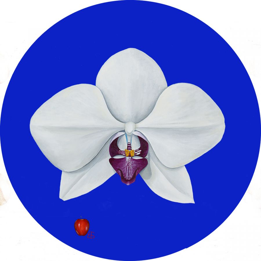 Orchid on Blue Glass Trivet