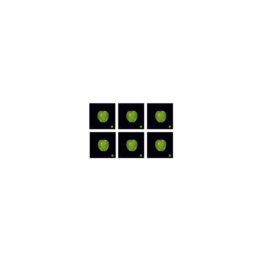 Green Apple on Black Coasters