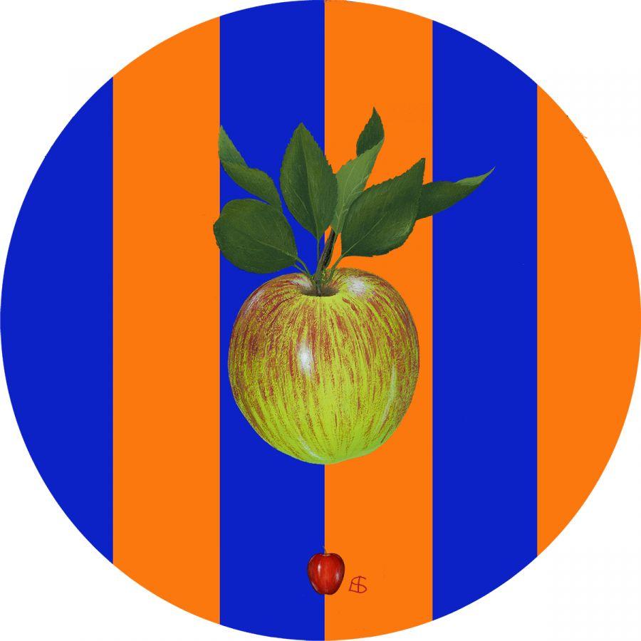 Green Apple on Orange & Blue Trivet