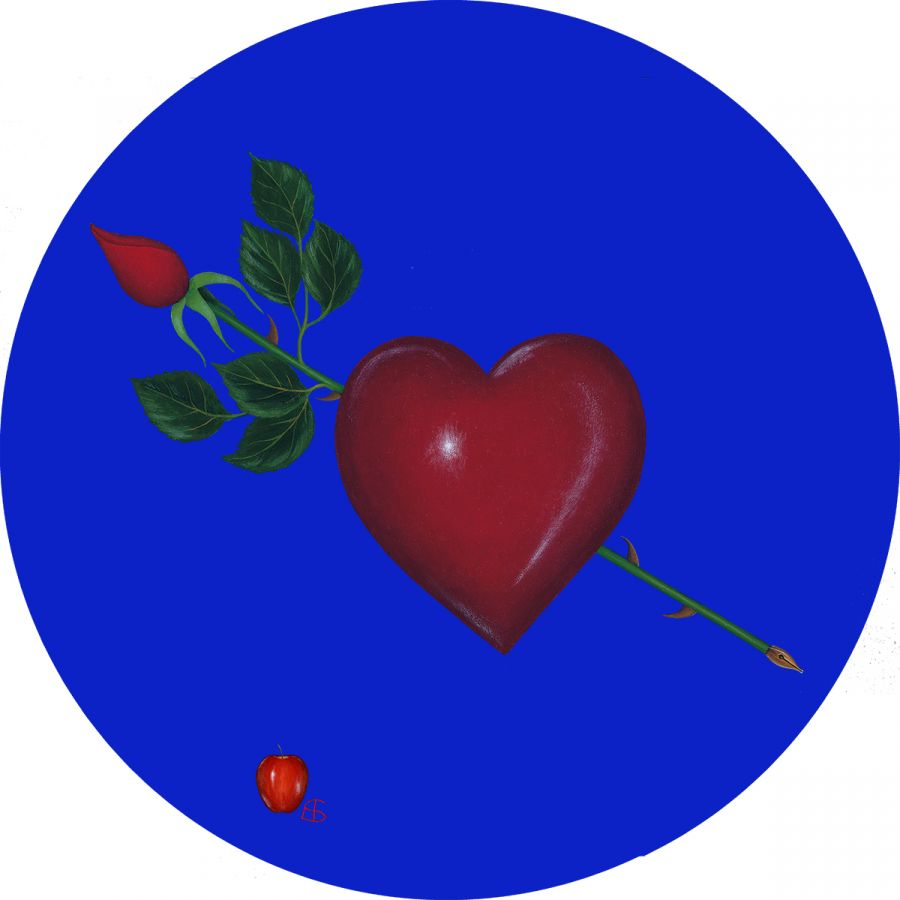 Heart & Rose on Blue