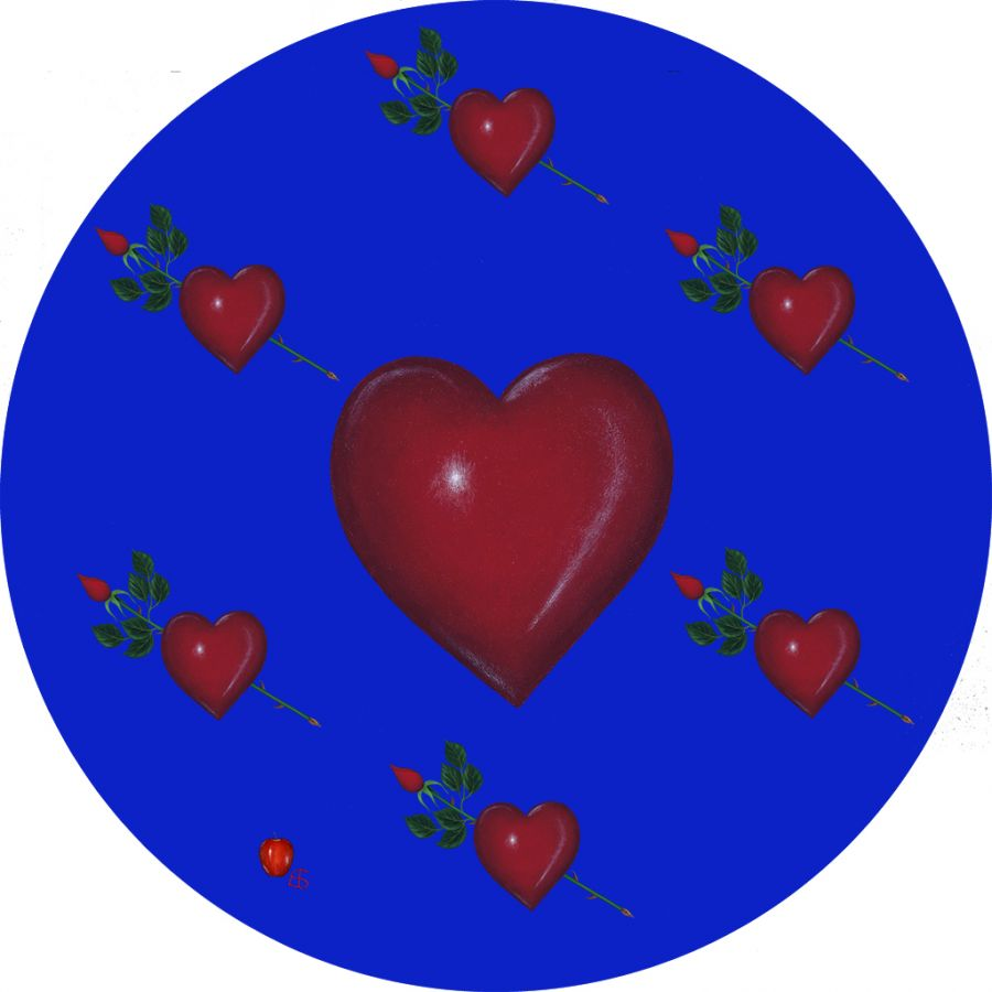 LOVE on Blue Round Table Mats