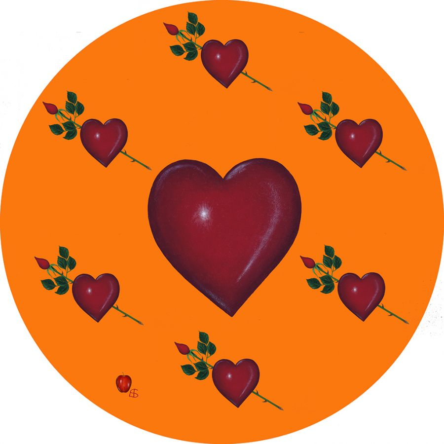 LOVE on Orange Round Table Mats