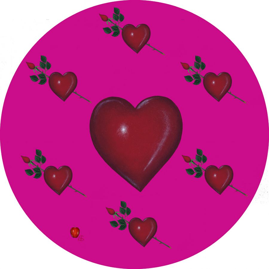LOVE on Pink Round Table Mats