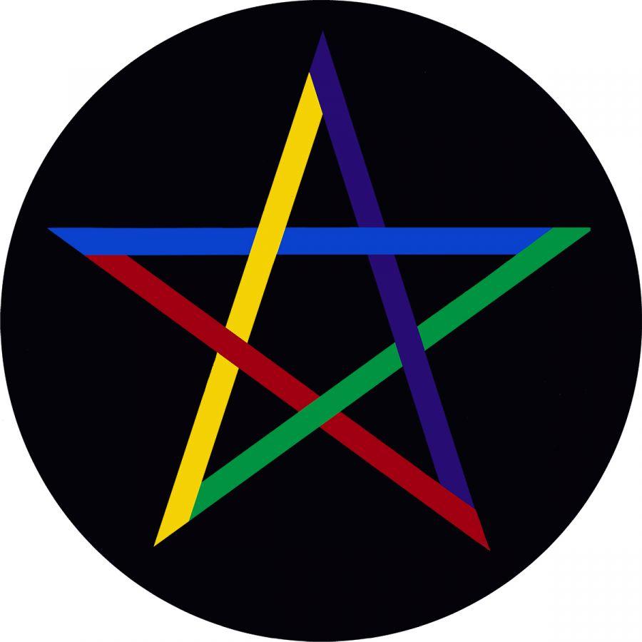 Pentagram on black