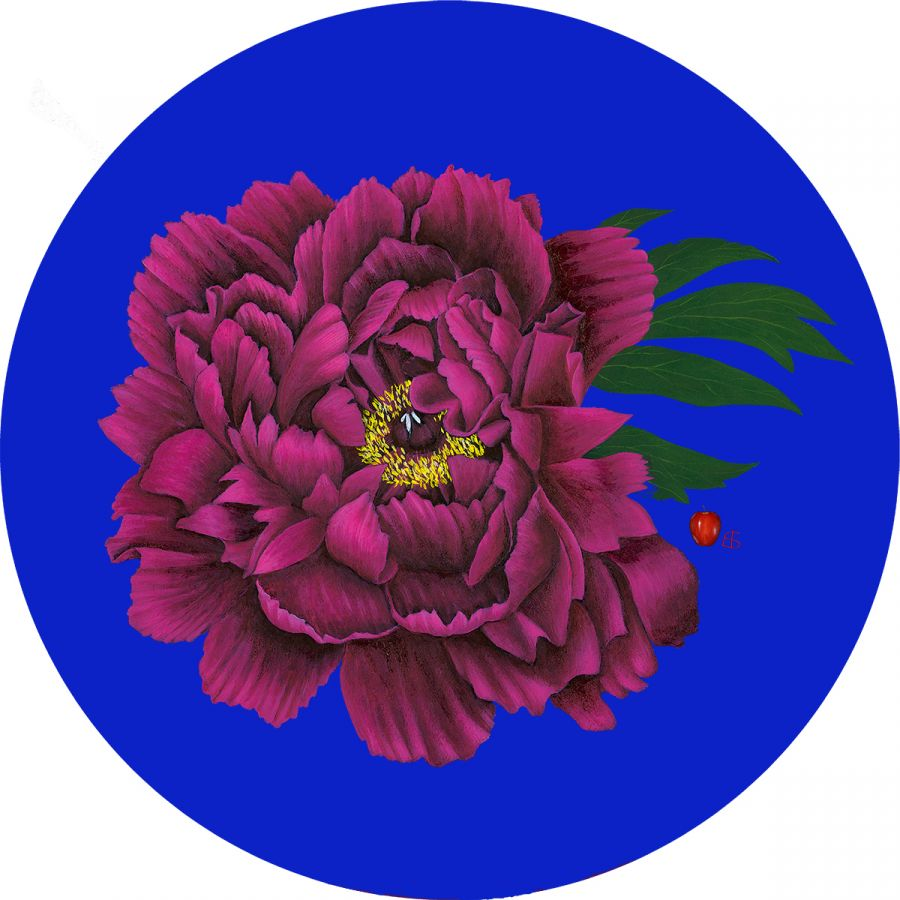 Peony with leaf on Blue Trivet