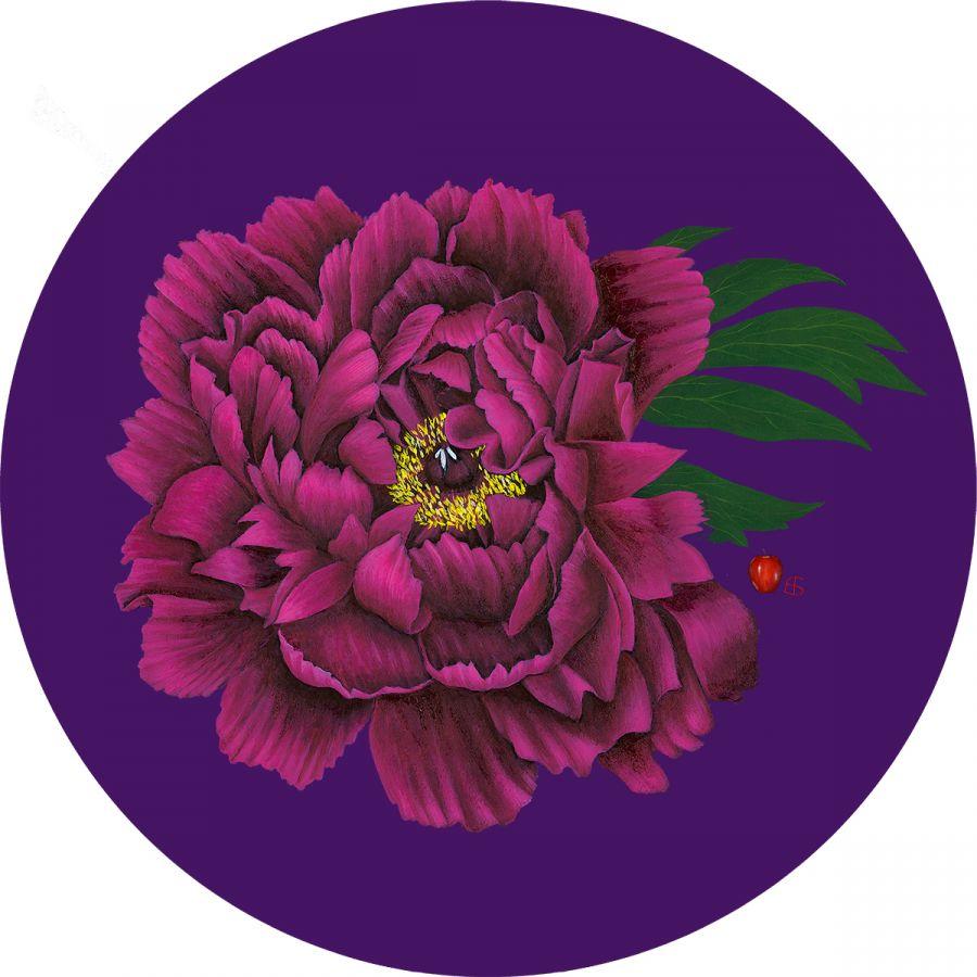 Peony with Leaf on Purple Trivet