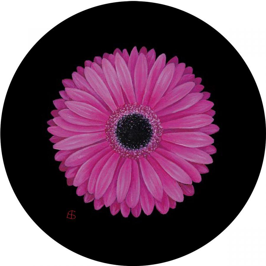Pink Gerbera glass trivet
