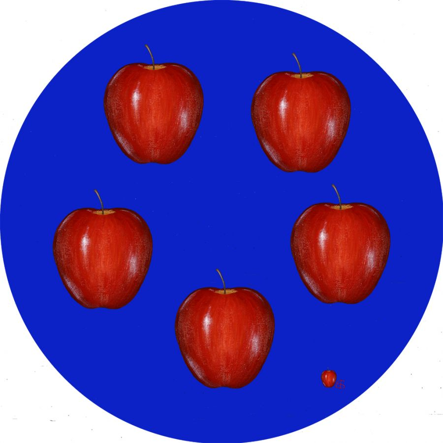 APPLES on Blue Round Table Mats