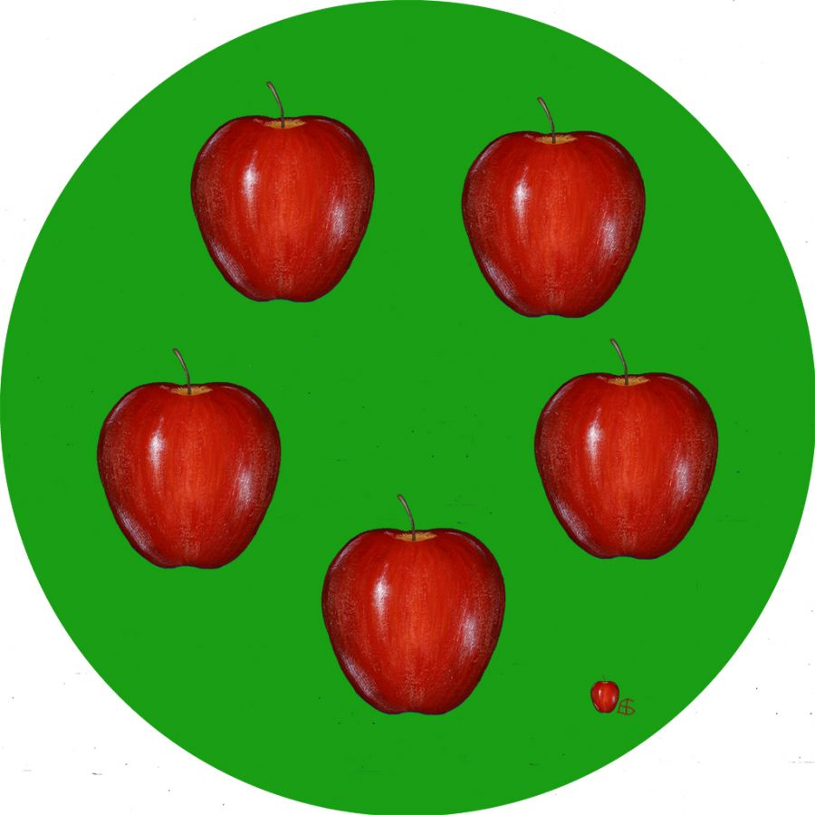 APPLES on GREEN Round Table Mats