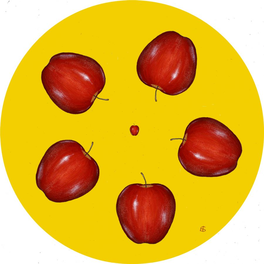 APPLES on Yellow Round Table Mats