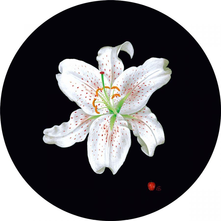 White Lily' on BLACK trivet