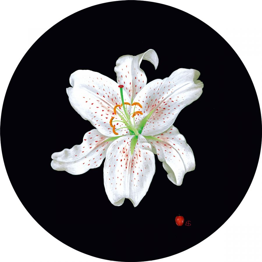 White Lily on Round Table Mats