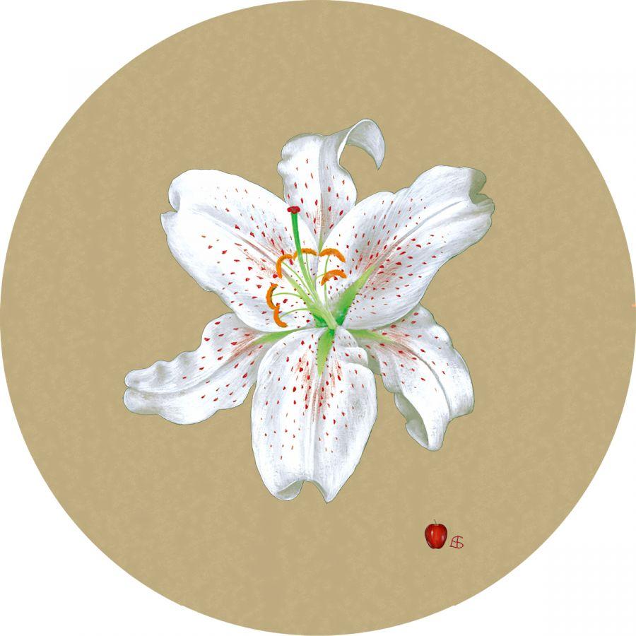 White Lily' on Gold Trivet