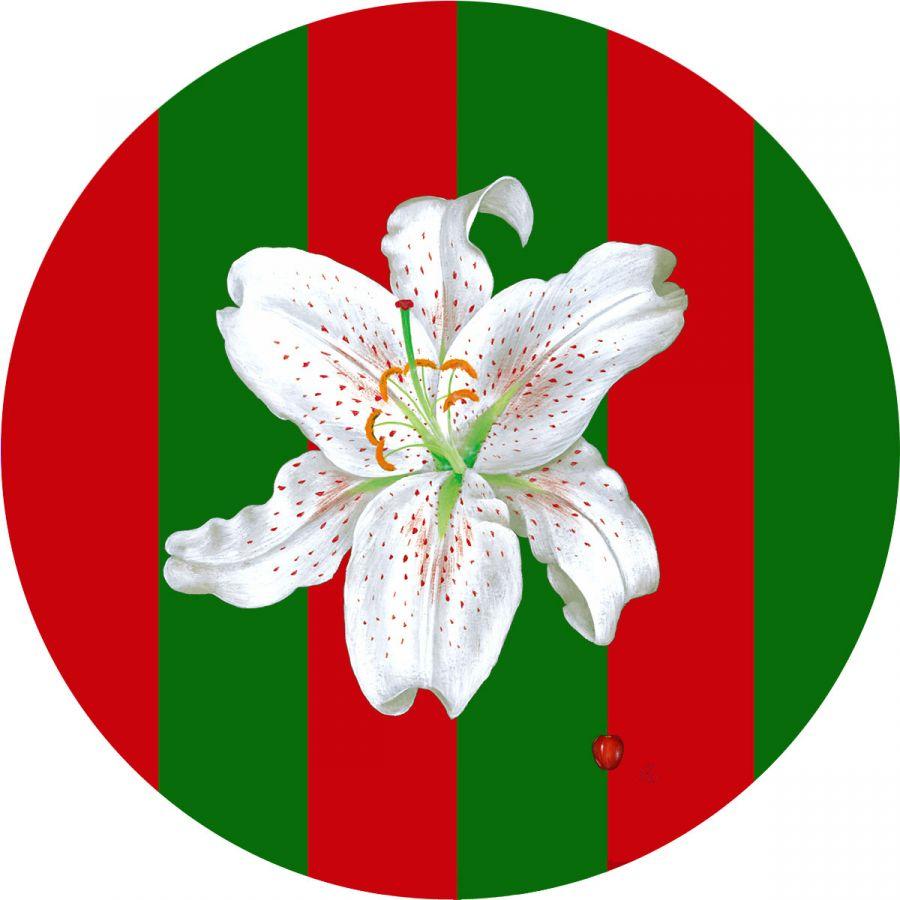 White Lily on Christmas Stripes Glass Trivet