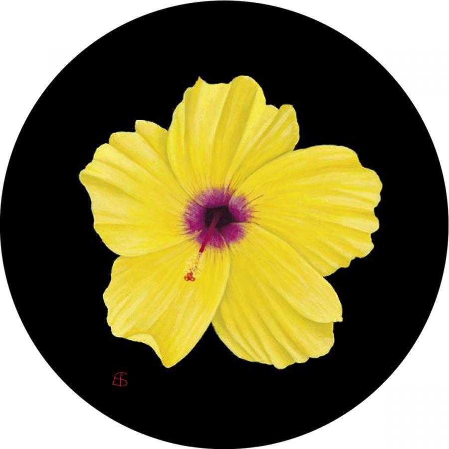 Yellow Hibiscus glass trivet