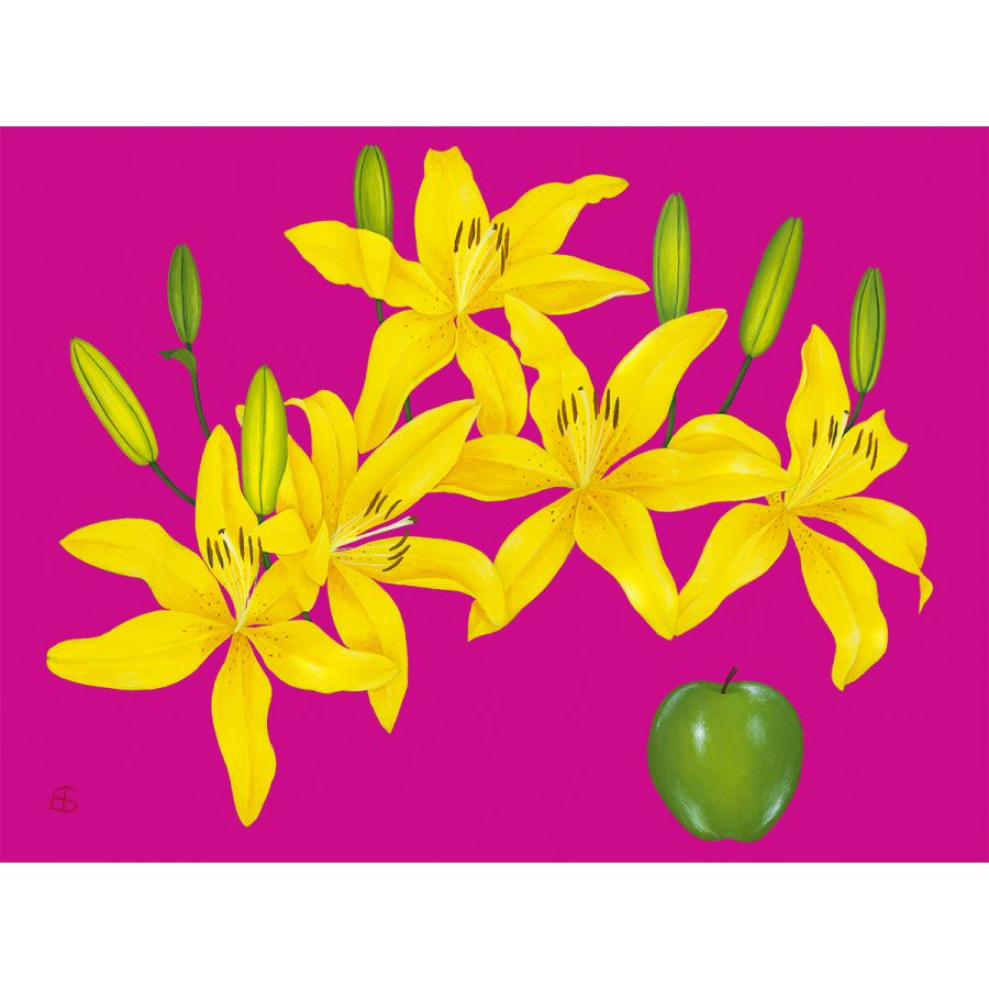 Yellow Lilies on Pink Table Mats
